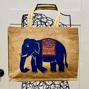 Boho Elephant Jute Tote Bag by Greater Good *81*